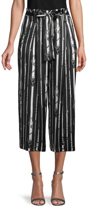 L'Agence Samira Paperbag Wide-Leg Silk Pants
