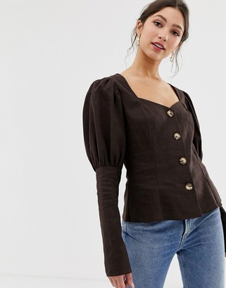 Asos Design DESIGN long sleeve sweetheart neck top in linen with contrast buttons