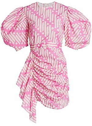 Rhode Resort Pia Puff-Sleeve Batik Cotton Dress