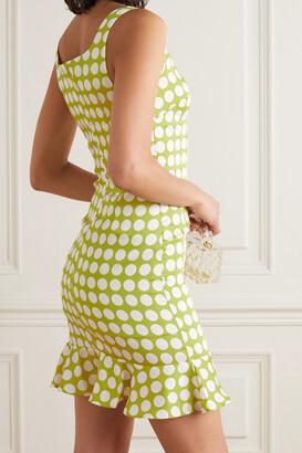 De La Vali Christabel Ruffled Polka-dot Recycled Twill Mini Dress - Green