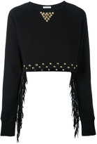 Each X Other cropped stud and fringe sweatshirt - women - Cotton - XS
