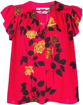 MSGM Rose Print Blouse