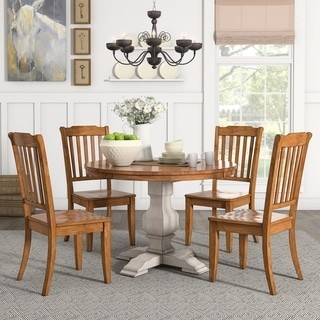 Inspire Q Eleanor Antique White Round Solid Wood Top 5-Piece Dining Set - Slat Back by Classic