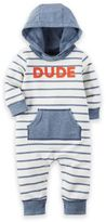 "Carter's Size 18M ""Dude"" Hooded French Terry Jumpsuit in Blue/White"