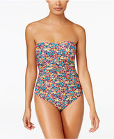 Anne Cole Budding Romance Floral-Print Shirred Bandeau One-Piece Swimsuit