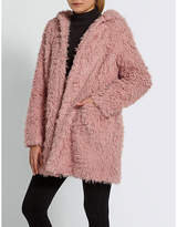 Missguided Shaggy faux-fur hooded coat