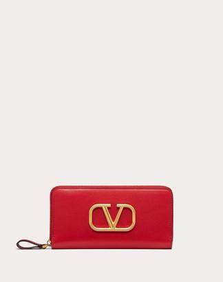 Valentino Vlogo Calfskin Zippered Wallet Women Black Calfskin 100% OneSize