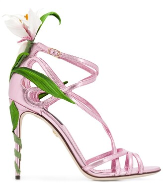 Dolce & Gabbana Kiera lily-embroidered sandals