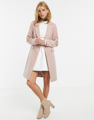 New Look button front coat in light pink