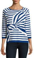 Joan Vass Striped Bow Sweater