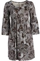 Glam Brown & Off-White Paisley Empire Waist Dress - Plus