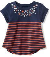 Old Navy Striped Embellished-Yoke Top for Toddler Girls