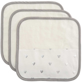 Elegant Baby Heart Print Organic Washcloth - Set of Three