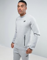 New Balance Ss Crew Sweatshirt In Grey Mt63502_ag