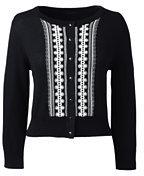 Classic Women's Supima 3/4 Sleeve Fitted Cardigan Sweater-Light Blue Brook Stripe
