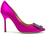 Manolo Blahnik Hangisi 105 Satin Pumps in Pink.