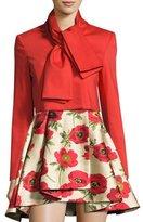 Alice + Olivia Adair Tie-Neck Cropped Jacket, Bright Red