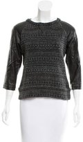 Gryphon Leather-Paneled Intarsia Sweater