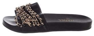 Chanel Leather Chain-Link Sandals