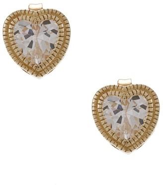 La Preciosa Goldplated Silver Cubic Zirconia Heart Earrings