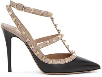 Valentino Black Garavani Rockstud Ankle Strap Heels