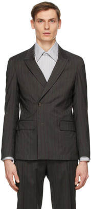 Ermenegildo Zegna Grey Wool Striped Double-Breasted Blazer