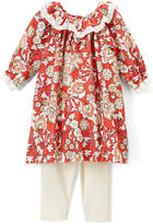 Red & Ivory Floral A-Line Dress & Leggings - Infant & Toddler