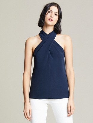 Halston Crepe Cross Neck Top