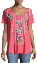Johnny Was Floral-Embroidery Jersey Tee, Coral