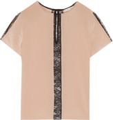 Alice + Olivia Bernadeth lace-trimmed silk top