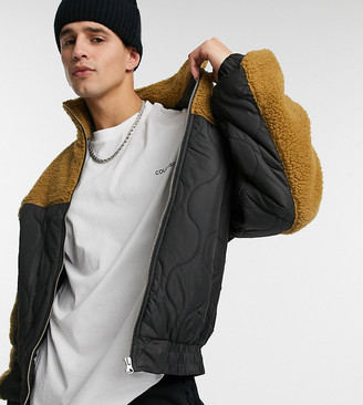 Collusion onion quilted jacket with borg fleece hybrid