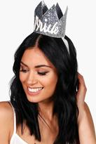 Boohoo Olivia Bride Hen Party Crown silver