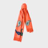Paul Smith Women's Burnt Orange Paisley Appliqué Wool-Cashmere Scarf