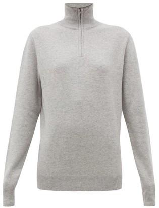 Extreme Cashmere - No. 102 Here Half-zip Stretch-cashmere Sweater - Light Grey