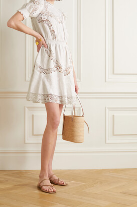 MICHAEL MICHAEL KORS - Crochet-trimmed Embroidered Hemp Mini Dress - White