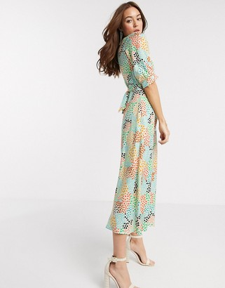 Closet London midi dress in abstract spot in multi