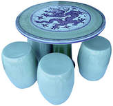One Kings Lane Vintage Celadon Table with Garden Stools