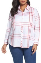 Foxcroft Plus Size Women's Herringbone Windowpane Roll Sleeve Shirt