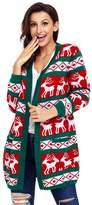 BaronHong Plus Size Loose Christmas Pattern Cardigan Women Sweater Long Coat(,M)