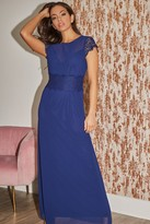 Thumbnail for your product : Little Mistress Bridesmaid Alessandra Navy Lace-Trim Maxi Dress
