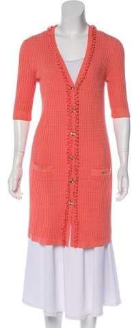 Chanel Rib-Knit Longline Cardigan