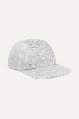 Off-White Crystal-embellished Lamé Cap - Silver