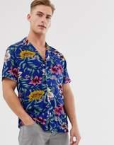 Threadbare printed floral short sleeve shirt in blue