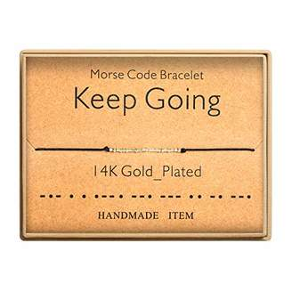 Morse Code Bracelet 14k Gold Plated Beads on Silk Cord Secret Message Keep Going Bracelet Gift Jewelry for Her