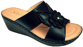 Black Flower Wedge Sandal