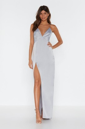Nasty Gal Womens Look At You Satin Maxi Dress - Grey - 4, Grey