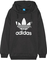 adidas Printed French Cotton-blend Terry Hooded Top - Black