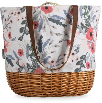 Picnic Time Coronado Floral Canvas & Willow Basket Tote