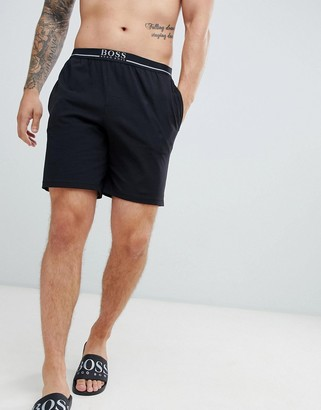 BOSS lounge shorts with contrast waistband-Black