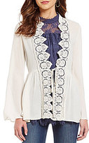 Coco + Jaimeson Lace-Trimmed Soft Tie-Front Jacket